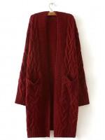 Solid Drop Shoulder Cable Knit Coat