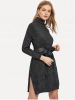 Knot Front Split Side Heathered Knit Sweater Dress