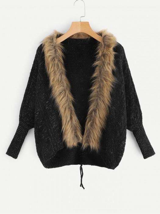 Drop Shoulder Contrast Faux Fur Knit Coat