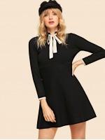 Tied Neck Fit & Flare Knit Dress
