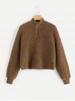Zip Half Placket Teddy Pullover Jacket